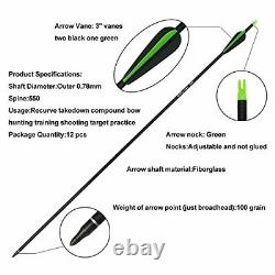 40lb Archery Takedown Recurve Bow Set Right Handed 12x Arrows Outdoor Hunting