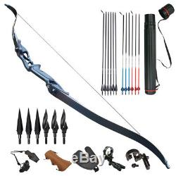 45lb 56 Archery Recurve Bow Kit Arrows Arrowheads Quiver set Right Hand Hunting