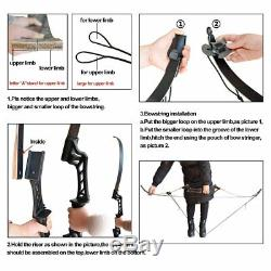 45lb Archery Takedown Hunting Recurve Bow Right Hand 57 Black Carbon Arrows