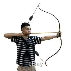 55'' Traditional Archery 45lb Hunting Recurve Bow Target Arrow Silencer Longbow
