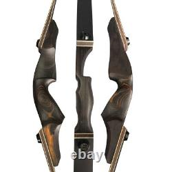 60 Takedown Recurve Bow 25-60lbs Wooden Riser Limbs Archery Hunting Shooting