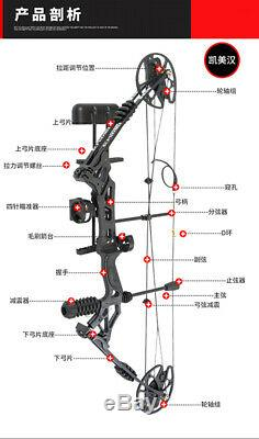 Compound Bow 30-70lbs Adjust 30 Sight Target Archery Right Hand Black Hunting