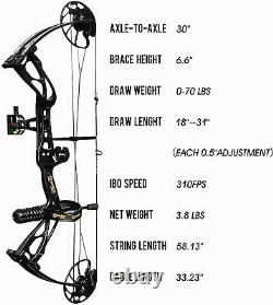 Dragon X8 Hunting Sanlida Archery Compound Bow Package 70Lbs Draw Weight 310 fps