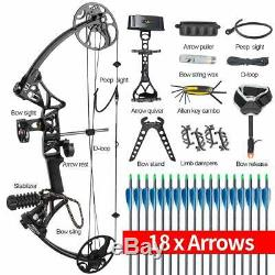 Topoint Compound Bow 19-30/19-70Lbs Right Hand Hunting Archery Target 18 Arrows