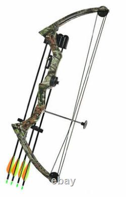Traditional Right Hand Compound Bow 20lbs Black/Camo Hunting Training Sport