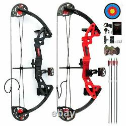 Youth Compound Bow Kit With4pcs Arrows&Target Right Hand Practice Hunting 15-29lbs